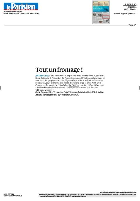 Le Parisien 15 septembre 2013