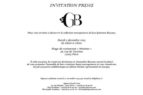 Invitation presse Gratianne Bascans