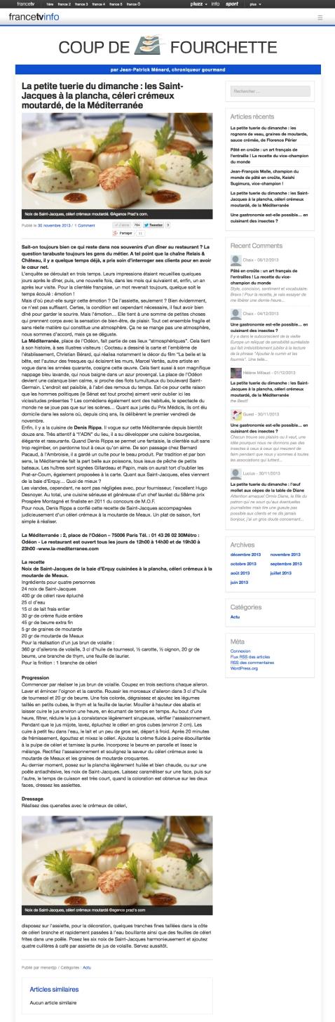 Coup de fourchette FranceTVInfo 30 Novembre