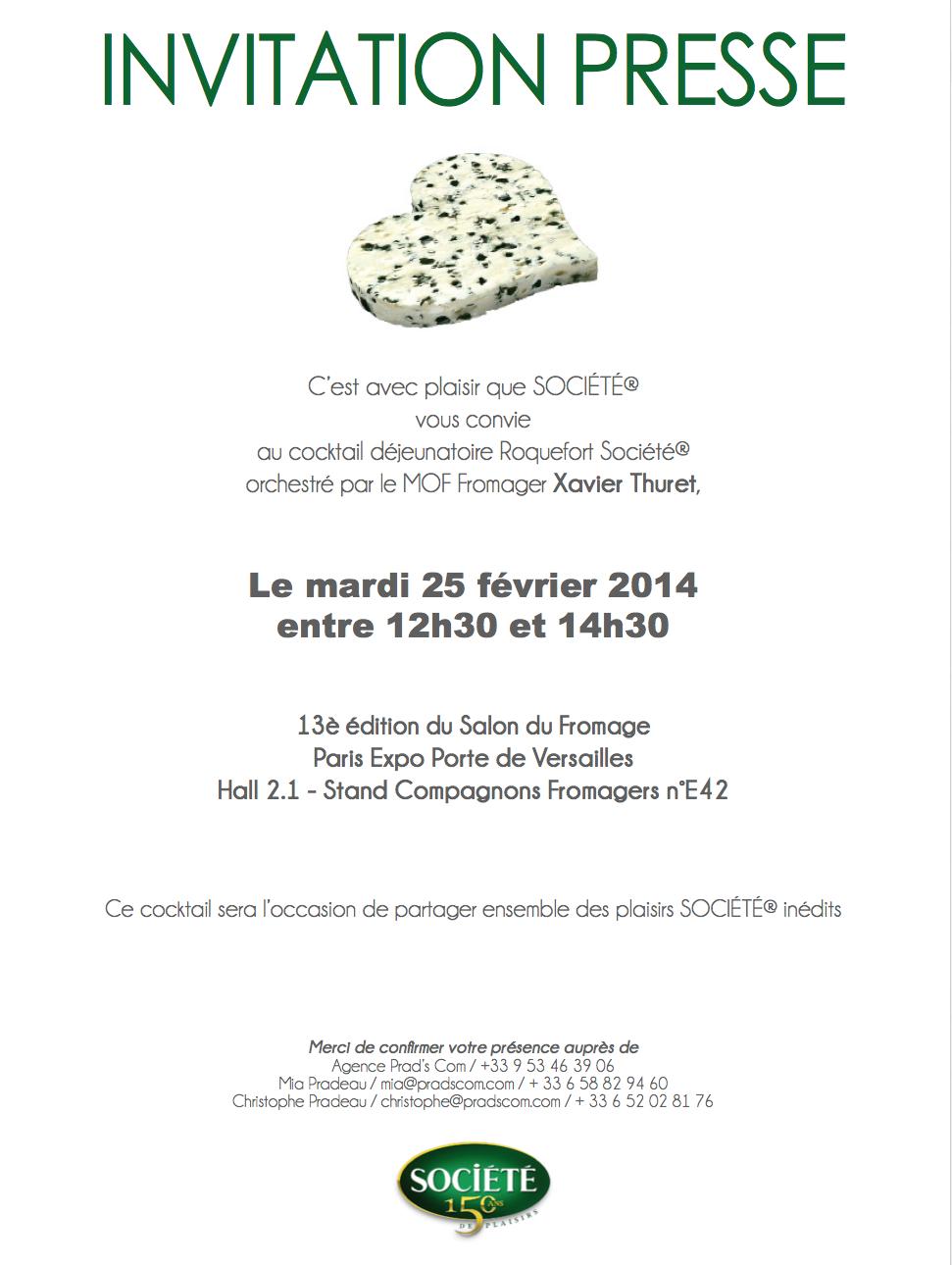 Invitation Salon Du Fromage 25 Fevrier 2014 Agence Prad S Com