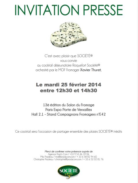 INVITATION SALON DU FROMAGE 24 février 2014