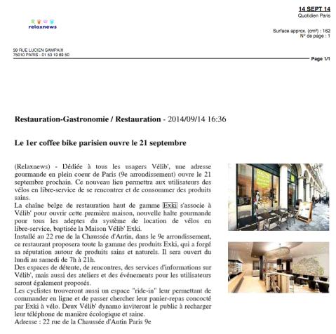 Relax News, 14 Septembre 2014
