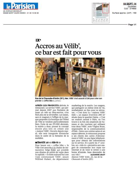 Le Parisien, 18 Septembre 2014