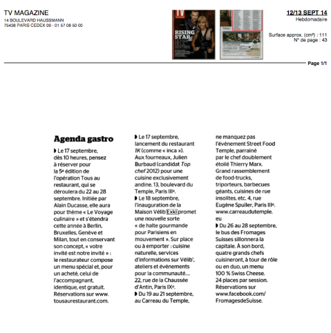 Le Figaro TV Magazine, 12/13 Sept 14