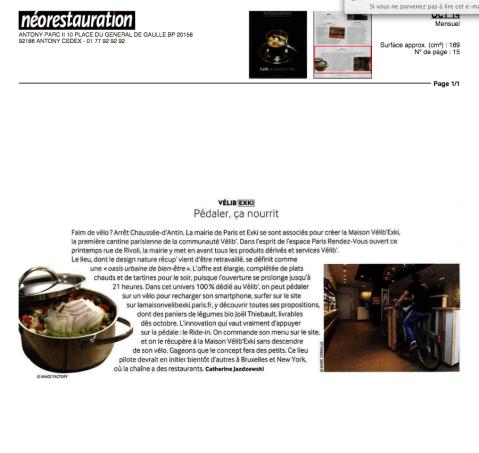 NéoRestauration, Octobre2014 – La Maison Velib' EXKi