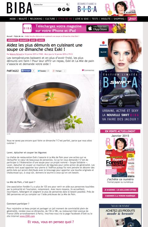 Bibamagazine.fr, 16 Janvier 2015