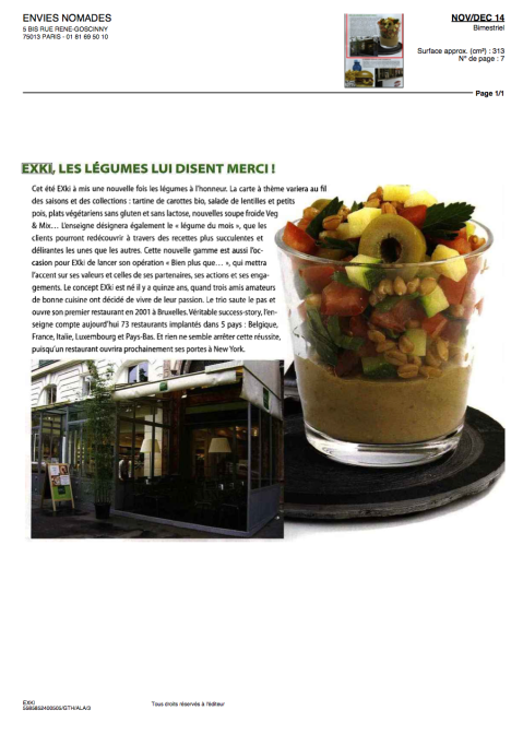Envie Nomades, Nov / Déc 2014 – EXKi