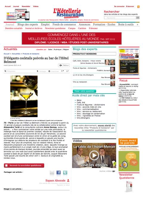 lHotellerie-Restauration.fr, 07 Janvier 2015 – Hotel Le belmont