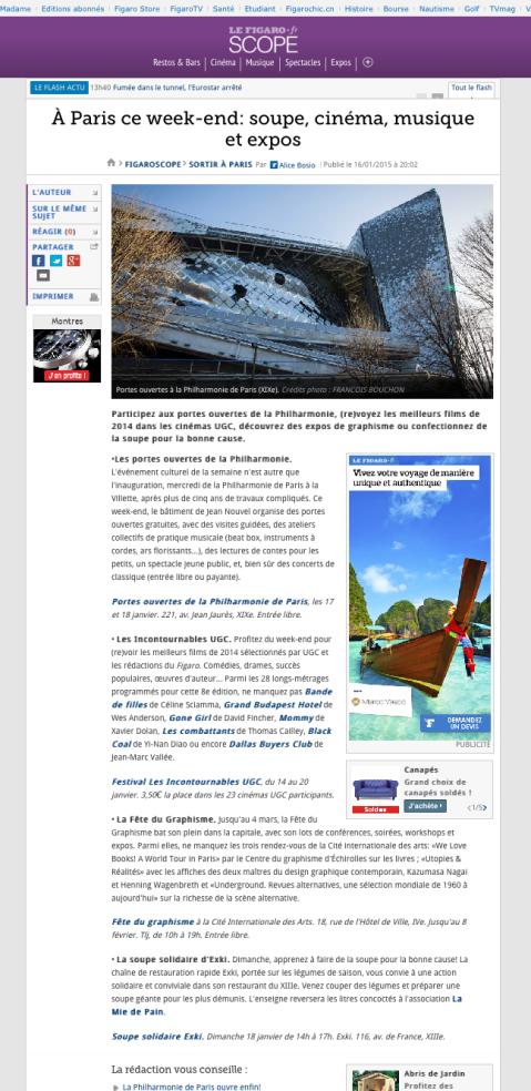 Lefigaro.fr, 16 Janvier 2015