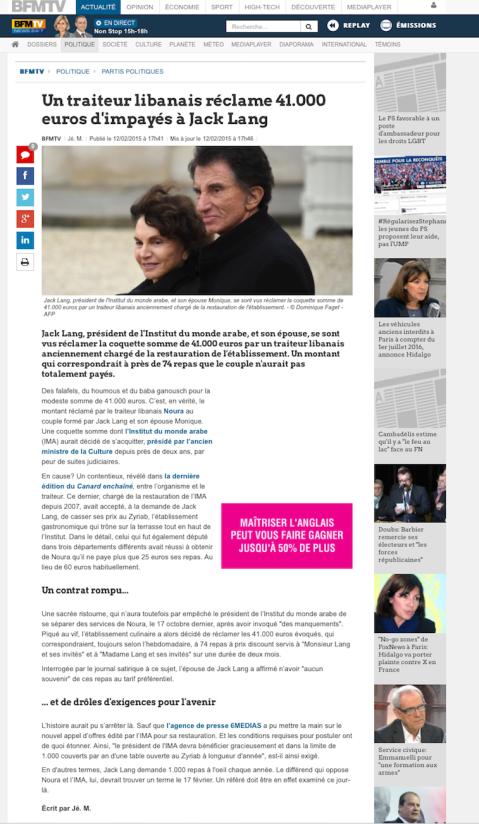 BFMTV.com, 12 Février 2015