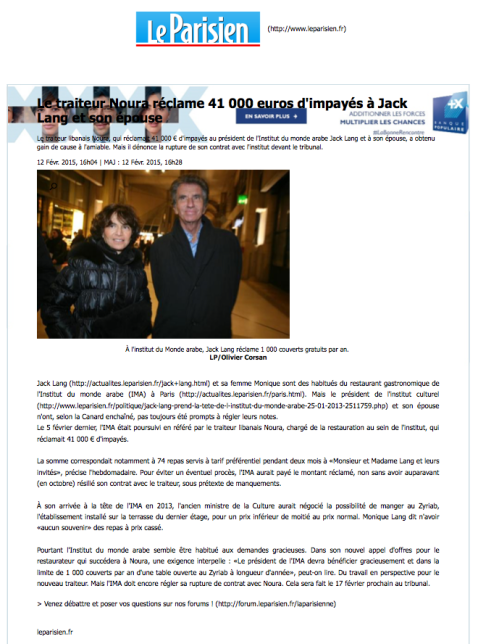 Leparisien.fr, 12 Février 2015