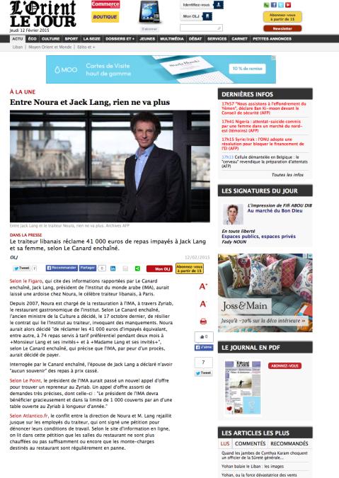 Lorientlejour.com, 12 Février 2015