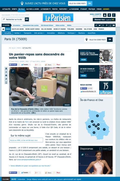 LeParisien.fr, 27 Avril 2015