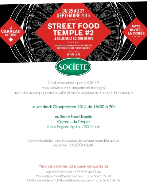 Save the date Street Food Temple 25 Septembre